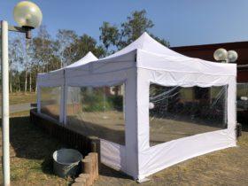 Faltpavillon 4x4m weiß inkl. Seitenwänden